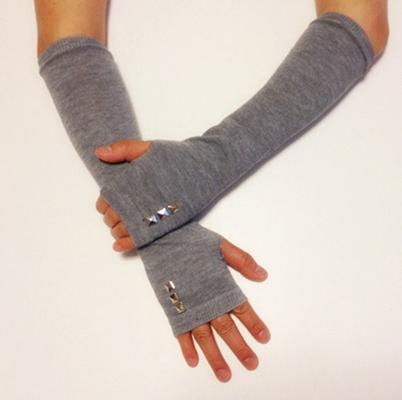 Cotton Arm Warmer Fingerless Gloves With Studs image 0