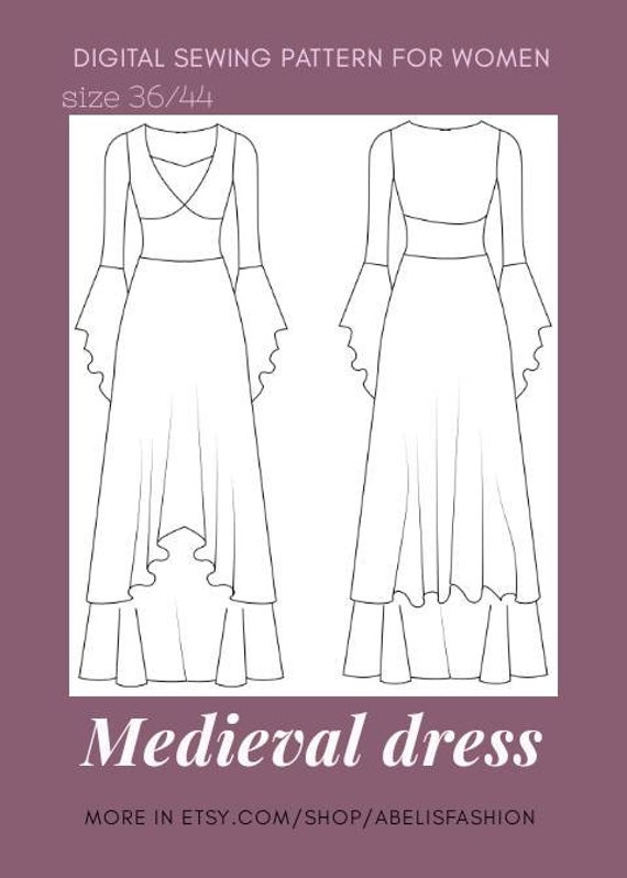 Medieval dress pattern, cosplay pattern dress, costume dress