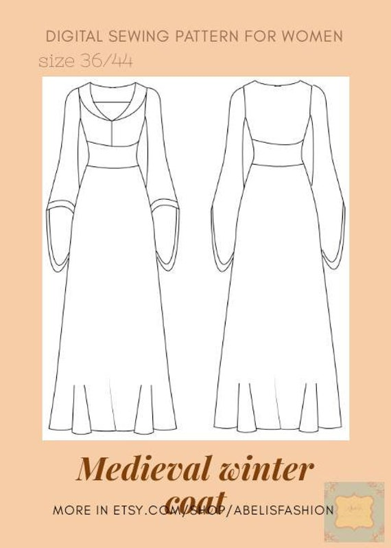 Medieval coat woman pattern, carnival dress pattern, middle age dress, costume dress, renaissance dress pattern, fantasy coat, sizes 3644