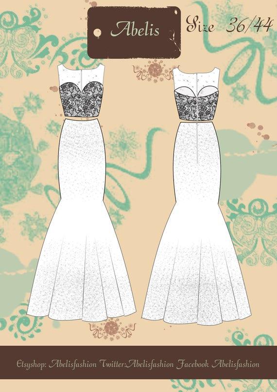 Patrón falda sirena crop top mujer vestido boda vestido | Etsy