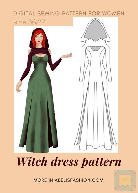 patrón disfraz halloween mujer bruja patrón bruja disfraz   Etsy