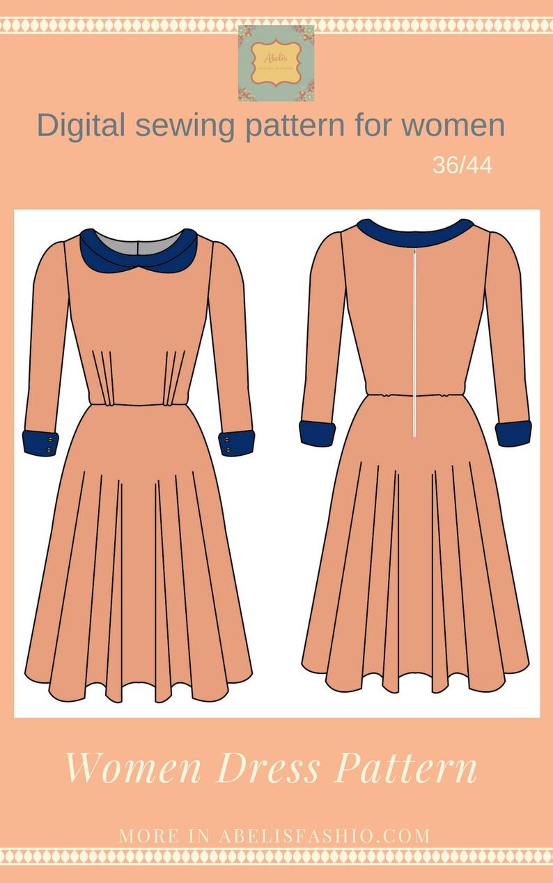 Patrón vestido mujer manga larga vestido falda capa  0b8a2f147ba