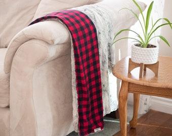Buffalo Plaid and Minky Blanket Throw - Luxury Bedding - Designer Blanket