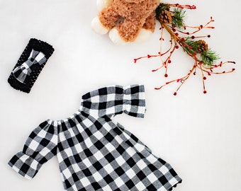 Buffalo Plaid Baby/Toddler Dress, Black and White Plaid Baby Dress