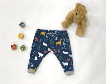 Forest Animal Baby Leggings, Blue Baby Pants, Woodland Baby Leggings