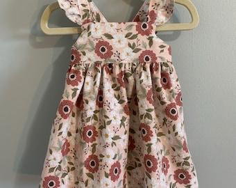 Pink Floral Summer Dress, Birthday Dress, Sundress, Baby Girl, Little Girl, Party Dress, Vintage Inspired, Handmade Clothing