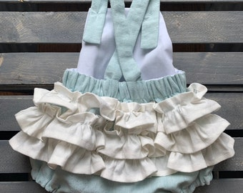 Blue Baby Romper, Linen Baby Blue and White Ruffled Summer Baby Romper, Baby Onsie