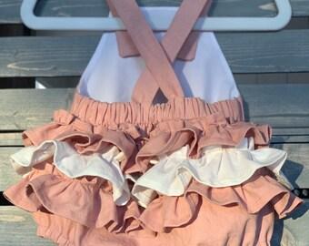 Pink Baby Romper, Pink Linen Ruffled Baby Romper