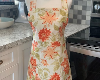 Ladies Floral Apron, Coral and Pink Floral Print Hostess Apron with 2 Pockets - Easter Apron, Chef Apron, Bakers Apron