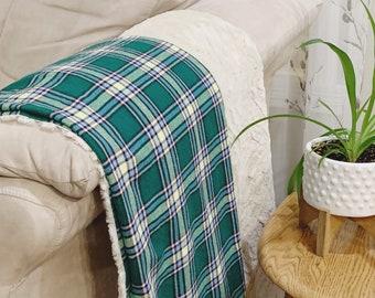 Alberta Green Tartan Blanket, Rustic Plaid Reversible Blanket with Faux Fur in Green with Cream Minky, Christmas Blanket