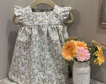 Floral Cotton Baby Girl Summer Dress - Easter Dress/Flower Girl/Baby Shower/First Birthday/Photo Shoot/Boho/Vintage