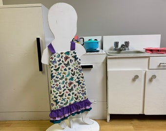 Little Girl's Purple Butterfly Print Apron With Ruffles
