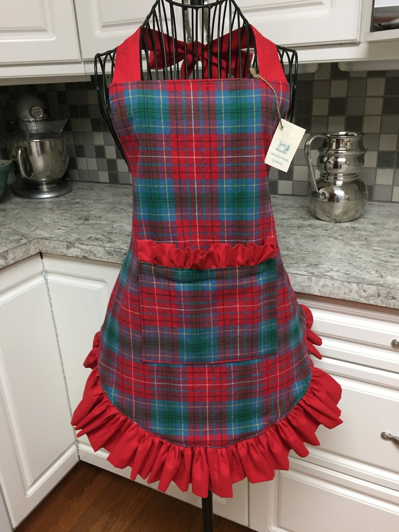 Vintage Plaid Christmas Apron with Pocket in Red Teal Green