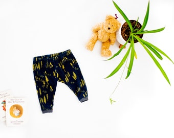 Woodland Baby Leggings, Navy and Green Forest Tree Woodland Print Print Baby Leggings