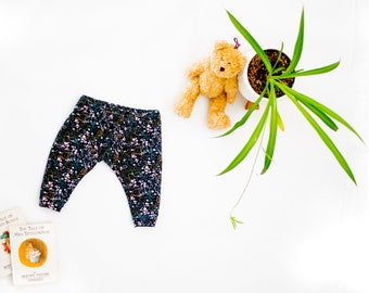 Floral Baby Leggings, Dark Charcoal Gray and Floral Baby Leggings