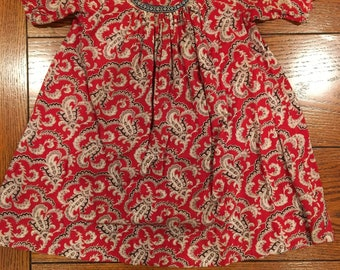 0297e208813 infant baby RED PAISLEY DRESS - 1880s to 1900s - Antique - dress for boy