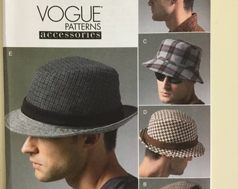 8d94f4e316 Vogue 8869 MENS HATS CAPS flat caps, bucket hat, trilby - classic styling -  hat making, millinery V8869 22 1/4