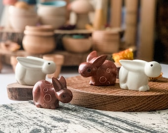 Hand carved Soapstone Bunnies