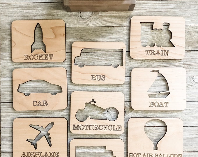 Transportation Wooden Flashcards with Walnut Box