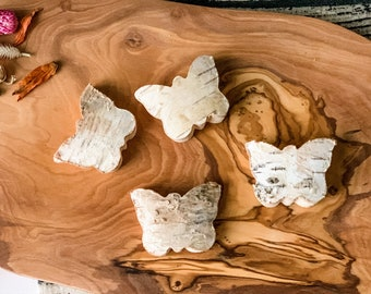 4 Natural Birch Wood Butterfly