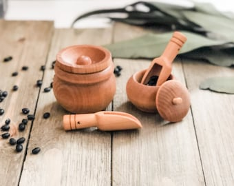 Natural Wood Scoops and Jars