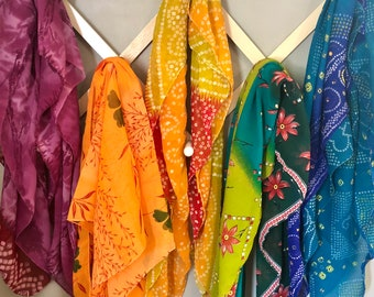 3 Random Recycled Sari Fabric Play Scarves