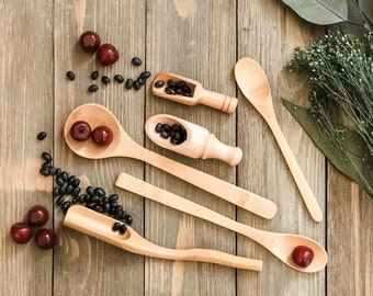 6 Piece Wooden Scoops and Spoons