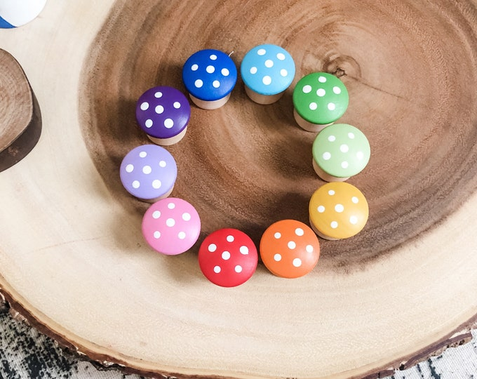 10 Rainbow Wooden Mushrooms
