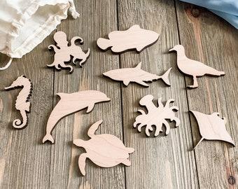 9 Wooden Ocean Animals