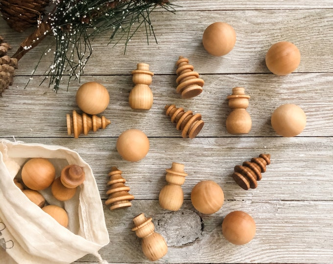 Winter Wooden Loose Parts - 30 Piece Winter Manipulatives