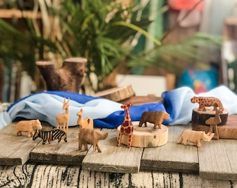 10 Hand Carved Little Wooden African Animals
