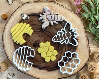Set of 3 Bio Plastic Bee Play Dough Cutters