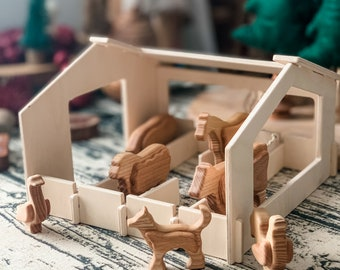 Toy Barn and Wooden Farm Animals - Handmade Wooden Animals - Build A Barn - Small World Toys - Pretend Play - Montessori Toys