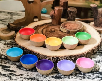 """Rainbow Color Sorting Bowls - Hand Painted - Open Ended Toys - 2.5"""" Wooden Bowls - Waldorf Toys - Montessori Toys - Read Item Description"""