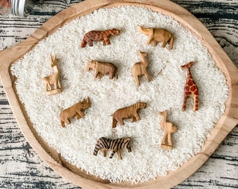 10 Hand Carved Little Wooden Animals