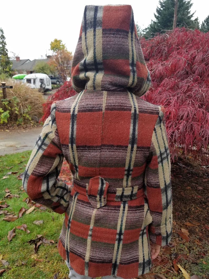 Petite plaid belted and hooded wool coat in fabulous rust and plum because that/'s a thing