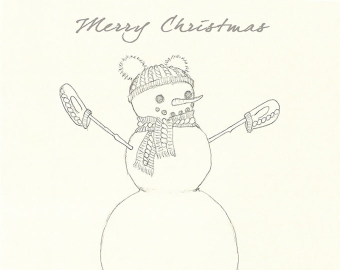 242 Snowperson Drawing Merry Christmas Card