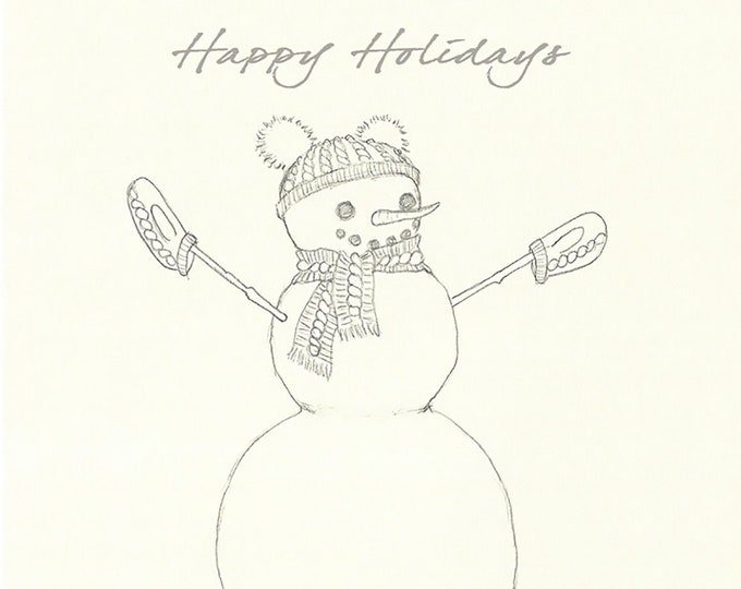 240 Snowperson Drawing Happy Holidays Card