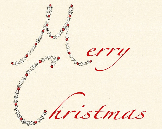162 Popcorn and Cranberry Chain Red Christmas card