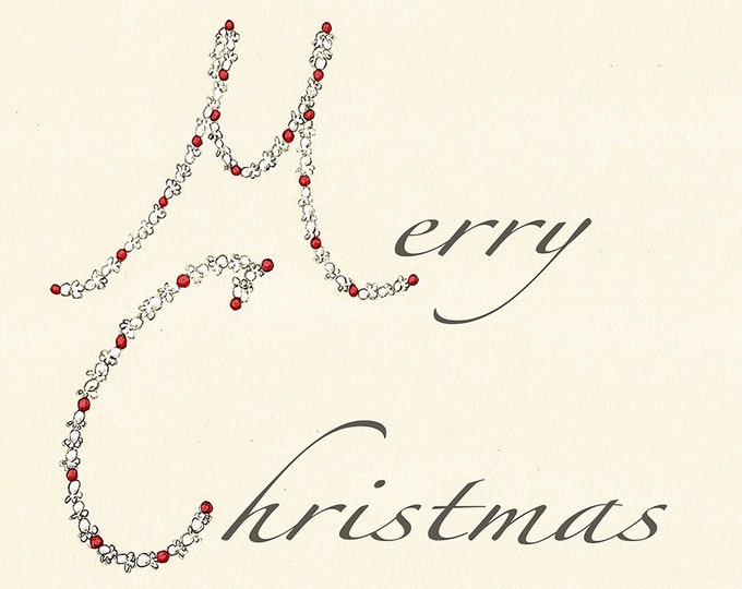 101 Popcorn and Cranberry Chain Christmas card