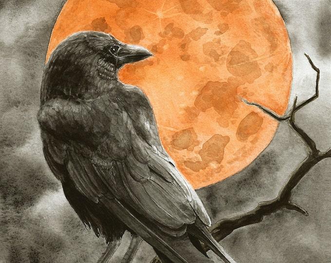 151 Raven and Full Moon card | Halloween | Invitation