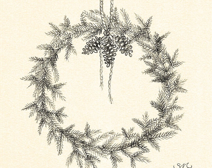 104 Wreath with Pinecones card