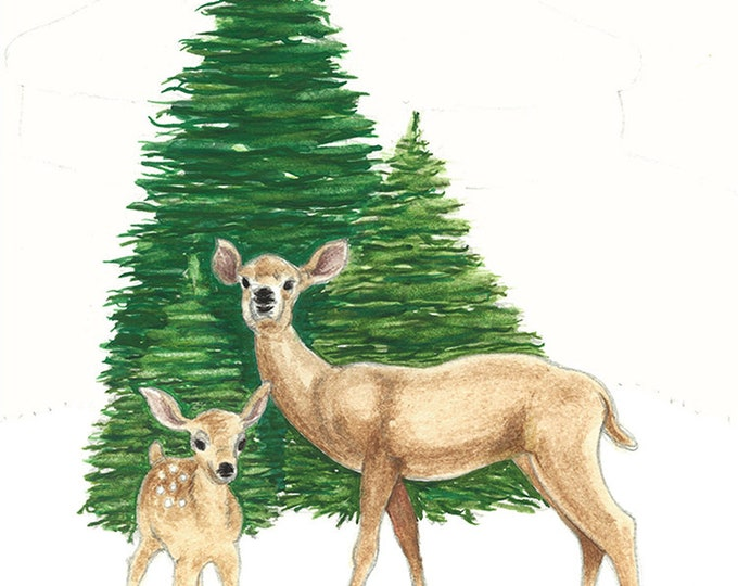 155 Doe and Fawn Winter | Holiday card