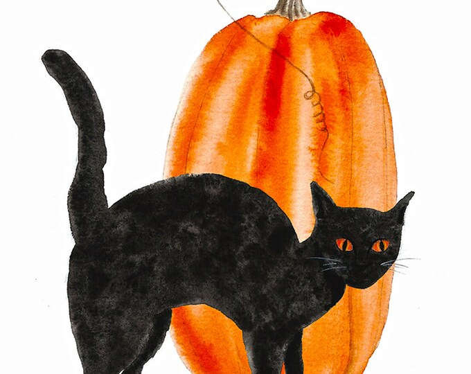 59 Happy Halloween Black Cat and Pumpkin Card