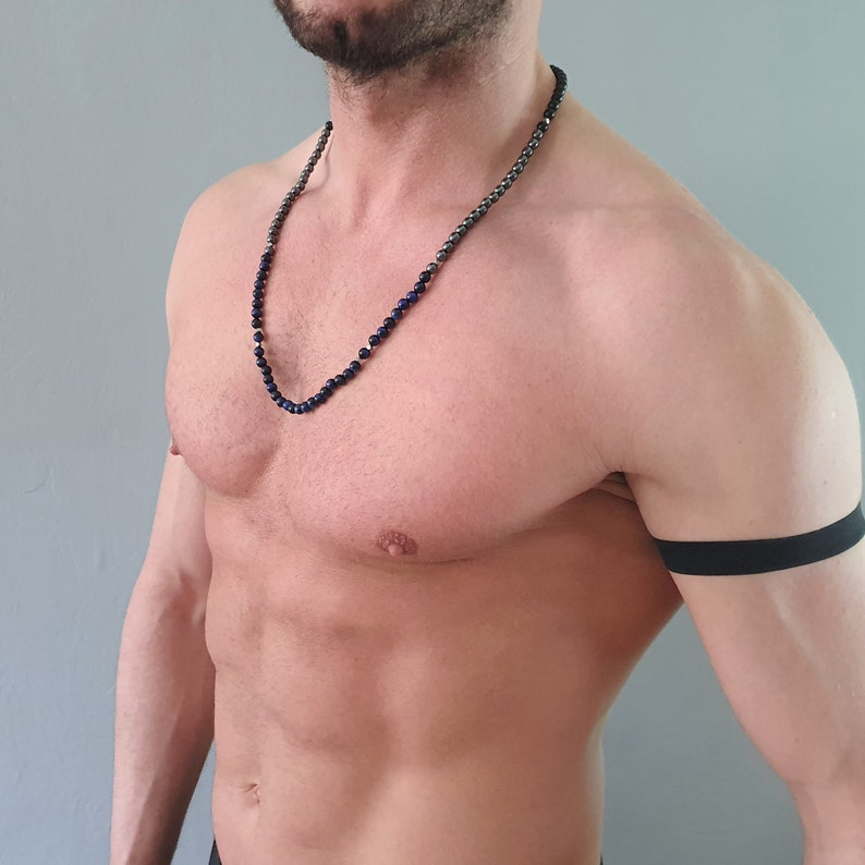 Mens gemstone jewelry for him Handmade unique gifts for men Hematite beaded necklace for men