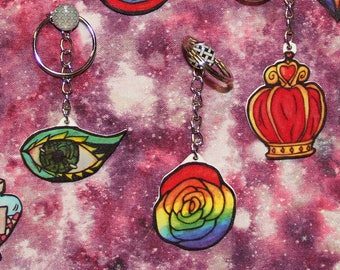 Watercolor Keychains and Phone Charms