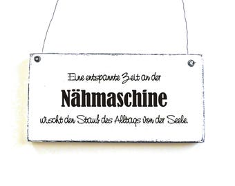 NÄHMASCHINE door sign deco sign wooden sign saying sign for the sewing room signs