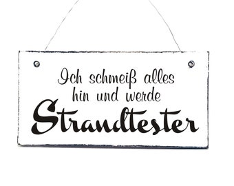 STRANDTESTER Shield Deco sign sign door sign wooden sign 20 x 10 cm