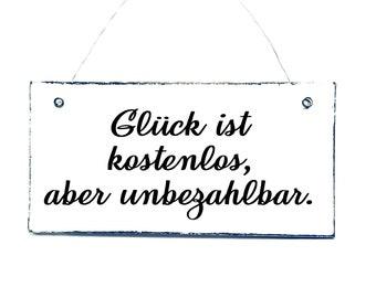 GLÜCK IS UNPRICED Decoration sign wooden Shabby 20 x 10 cm
