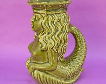 Mermaid Glug Jug Dartmouth Pottery England Vintage Sea Inspired Ceramic Pitcher Ornamental Display Home Decor Mythical Fantastic Gift Idea!